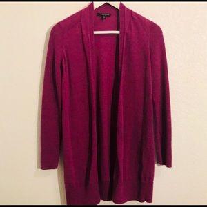 Eileen Fisher berry colored wool cardigan